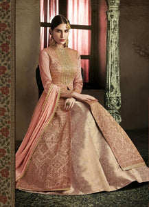 Peach Color Silk Anarkali Suits with Net Dupatta