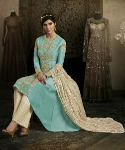 Teal Blue Color Silk Anarkali Suits with Net Dupatta