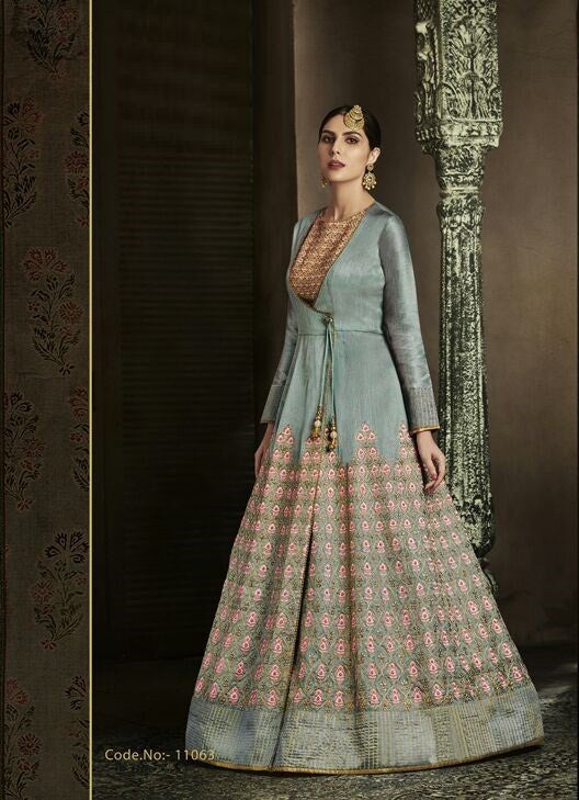 Grey Color Silk Anarkali Suits with Net Dupatta