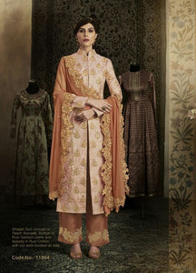 Peach Color Brocade Anarkali Suits with Chiffon Dupatta