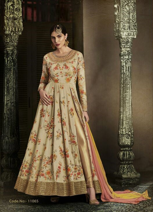 Cream Color Silk Anarkali Suits with Chiffon Dupatta