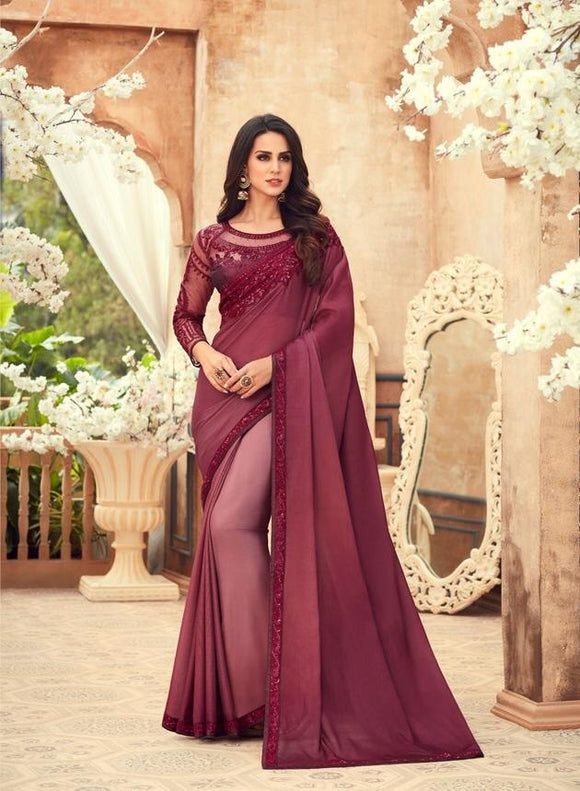 Chiffon Digital Print Magenta Saree With Matching Blouse