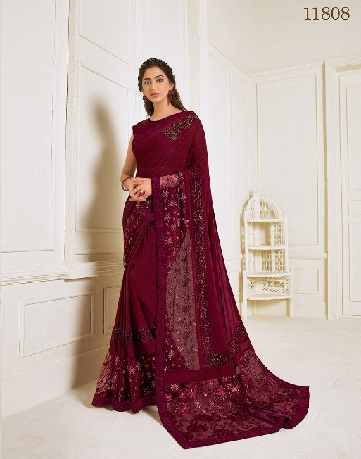 Lycra embroidery and hand work buttaMarron Saree With Matching Blouse