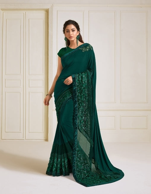 Lycra embroidery and hand work buttaGreen Saree With Matching Blouse