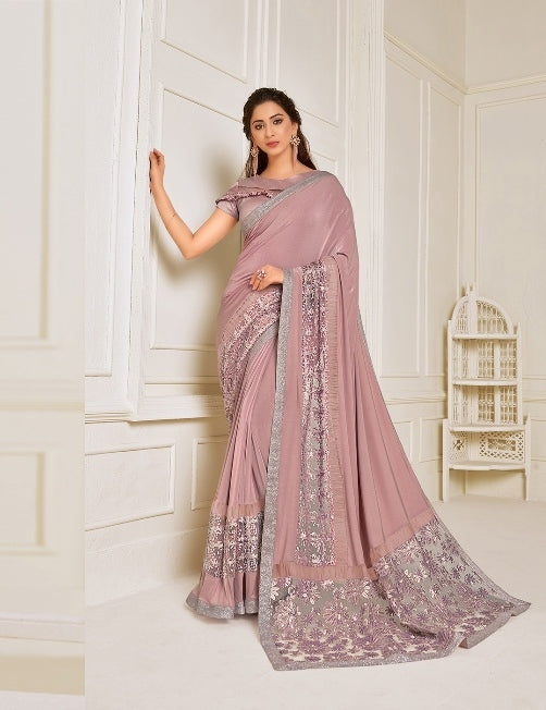 Lycra embroidery and hand work buttaPink Saree With Matching Blouse