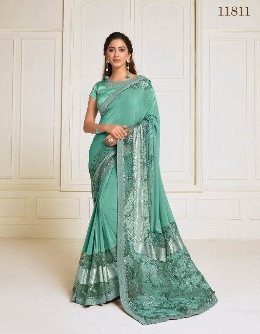 Lycra embroidery and hand work butta Sea green Saree With Matching Blouse