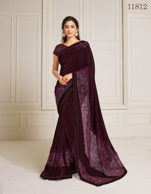 Lycra embroidery and hand work butta Wine Saree With Matching Blouse
