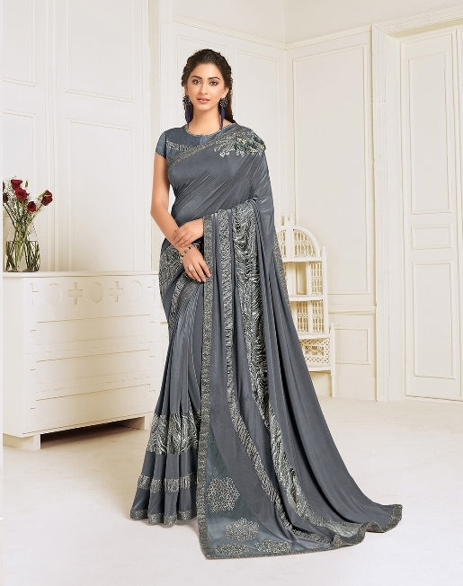 Lycra embroidery and hand work butta Grey Saree With Matching Blouse