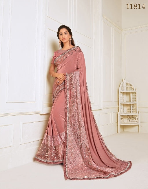 Lycra embroidery and hand work butta Pink Saree With Matching Blouse