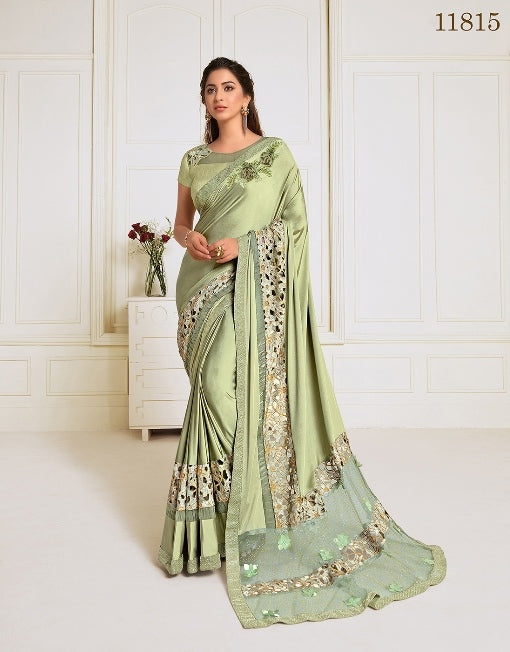 Lycra embroidery and hand work butta Green Saree With Matching Blouse