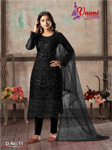 Black Salwar Suit made of Net with Net Dupatta