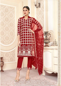 Marron Plazzo Suit  made of Net with Net Dupatta
