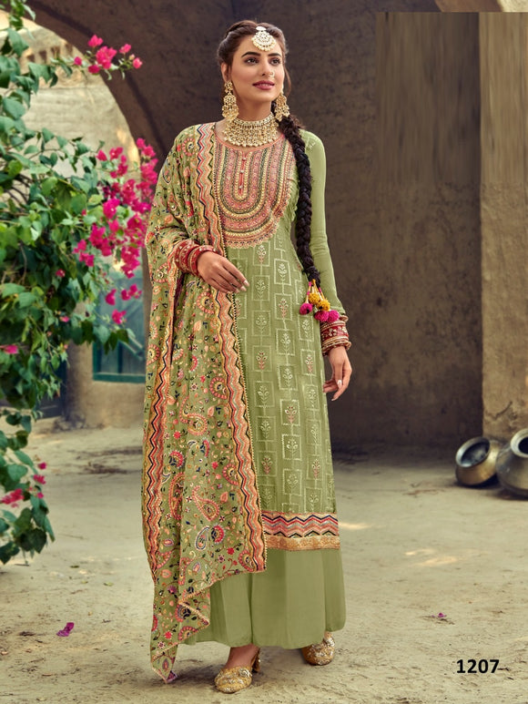 Green Plazzo Suit  made of Faux Georgette with Faux Georgette Dupatta