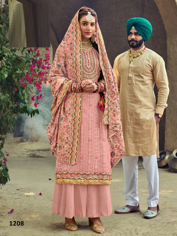 Peach Plazzo Suit  made of Faux Georgette with Faux Georgette Dupatta