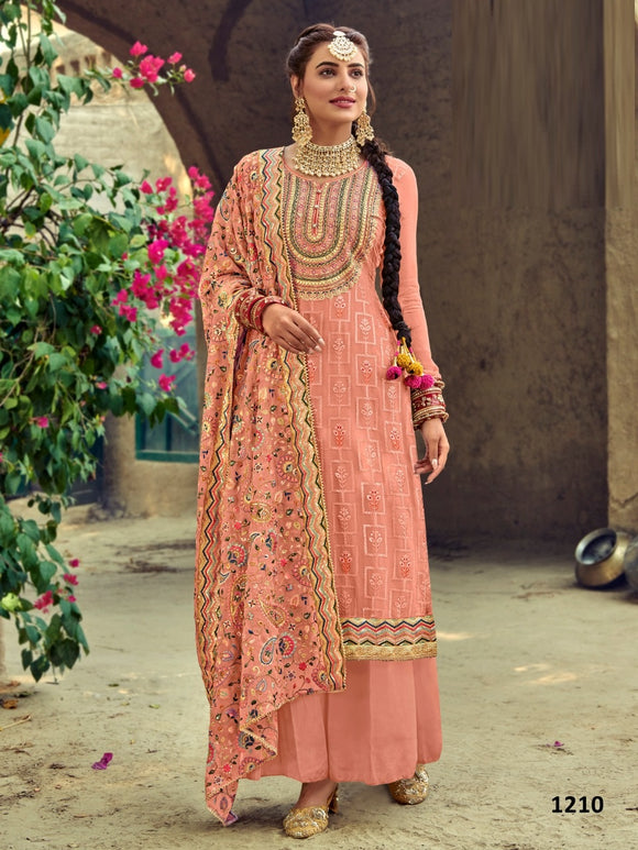 Orange Plazzo Suit  made of Faux Georgette with Faux Georgette Dupatta