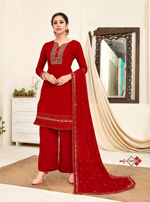 Red Plazzo Suit  made of Georgette with Georgette Dupatta