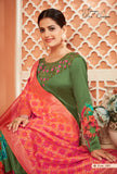 Green Color Monga Satin Silk Anarkali Suits with Jacquard Dupatta