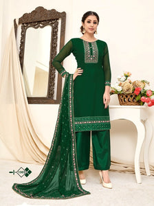 Green Plazzo Suit  made of Georgette with Georgette Dupatta
