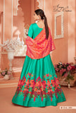 Turquoise Color Monga Satin Silk Anarkali Suits with Jacquard Dupatta