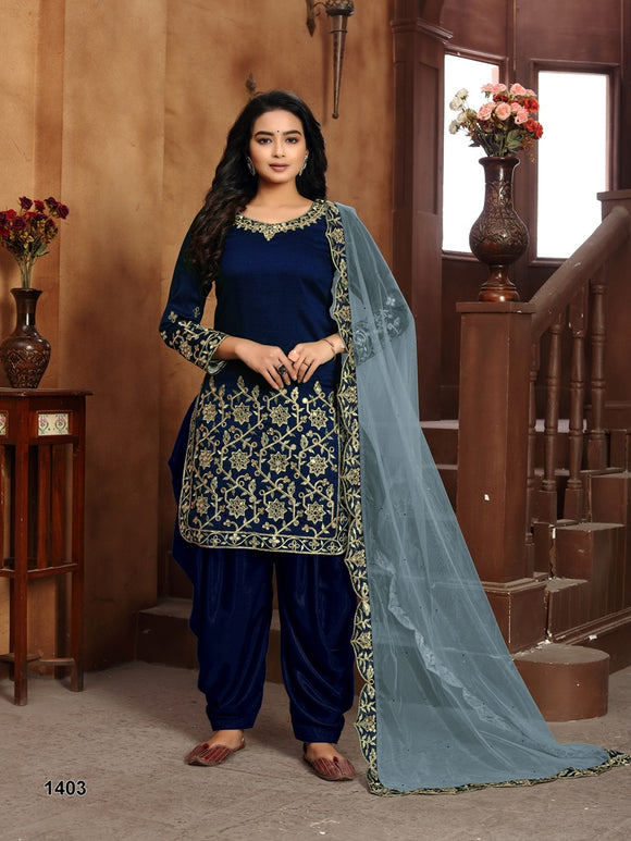 Blue Salwar Suit made of Art silk with Net With Heavy Glass Work Border Dupatta