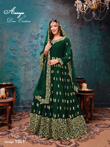 Green Color Faux Georgette Anarkali Suits with Net Dupatta