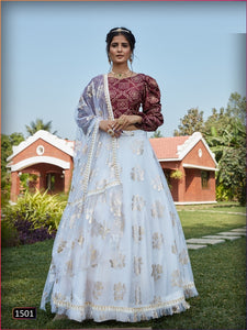 White Foil Printed Net Lehenga Choli With Matching Blouse and Net Dupatta