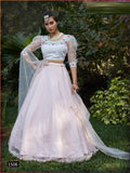 Pink And White Foil Printed Net Lehenga Choli With Matching Blouse and Net Dupatta
