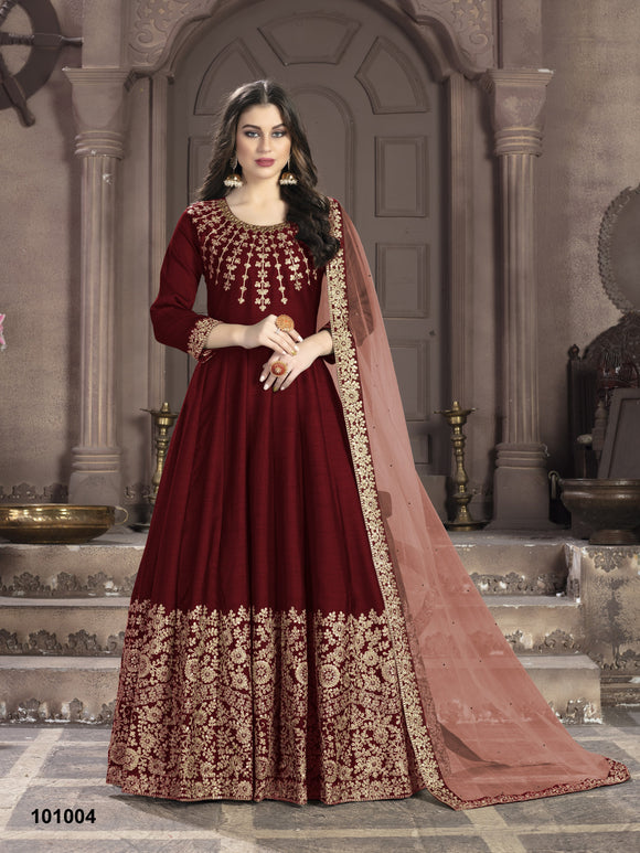 Red Color Art Silk Anarkali Suits with Net With Heavy Embroidery Border Work Dupatta