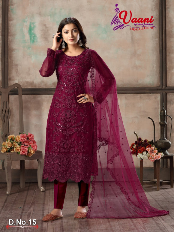 Pink Salwar Suit made of Net with Net Dupatta