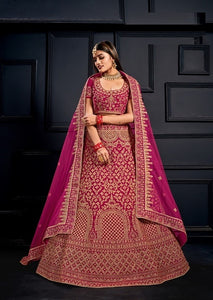 Pink Embroidered Net Lehenga Choli With Matching Blouse and Net Dupatta