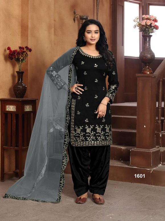 Black Salwar Suit made of Art silk with Net With Heavy Glass Work Border Dupatta