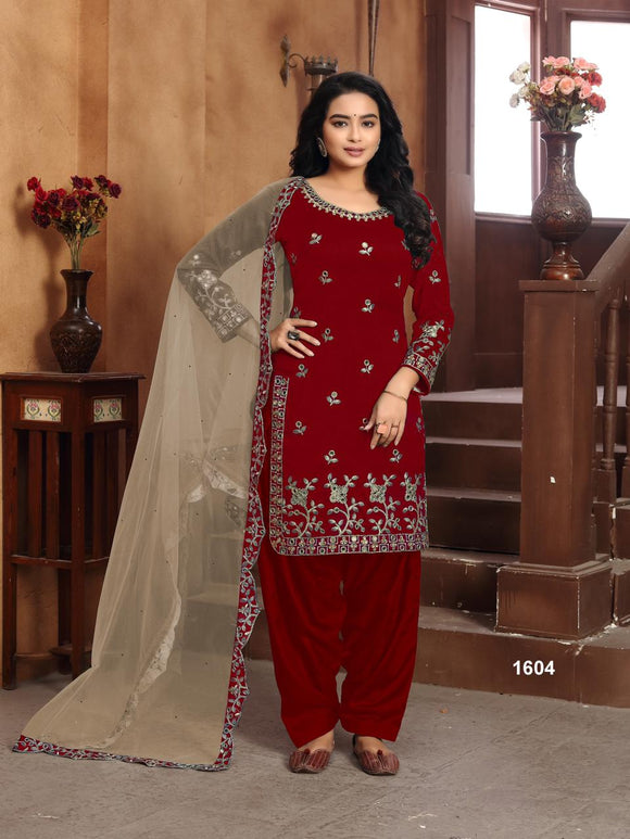 Marron Salwar Suit made of Art silk with Net With Heavy Glass Work Border Dupatta