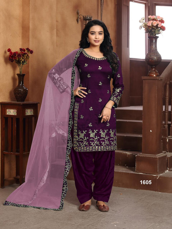 Purple Salwar Suit made of Art silk with Net With Heavy Glass Work Border Dupatta