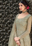 Dusty Green Color Net Anarkali Suits with Net Dupatta