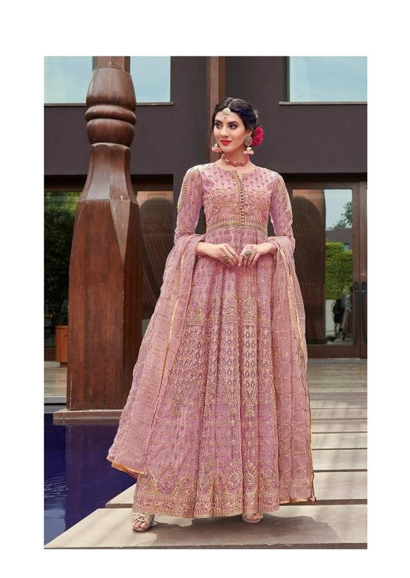 Pink Color Net Anarkali Suits with Net Dupatta