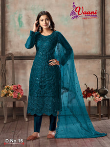 Teal Blue Salwar Suit made of Net with Net Dupatta