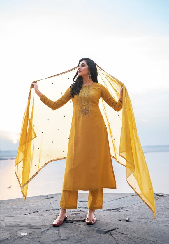 Yellow Plazzo Suit  made of Cotton Silk with Modal Dupatta
