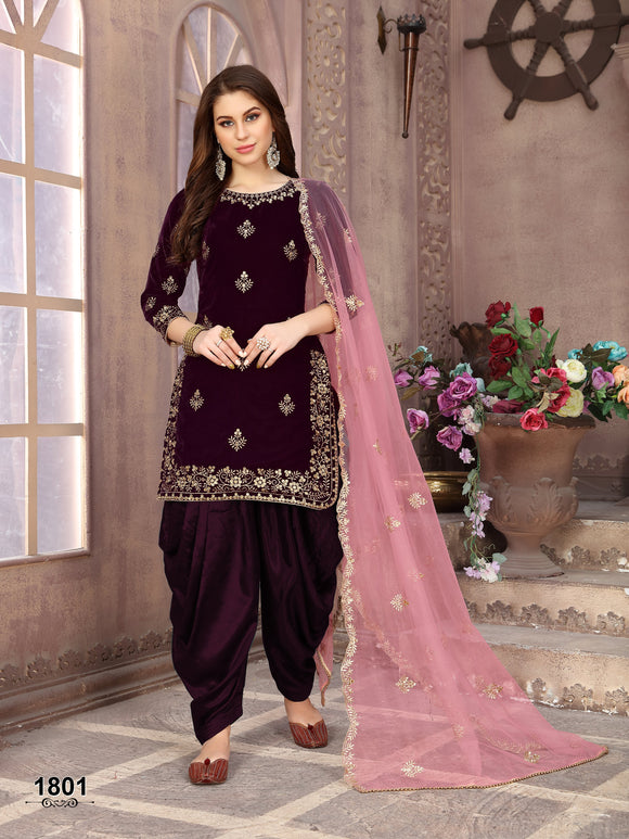 Purple Patiala Suit made of Velvet with Net Heavy Work Dupatta - Dani Fashions