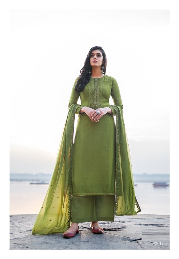 Green Plazzo Suit  made of Cotton Silk with Modal Dupatta