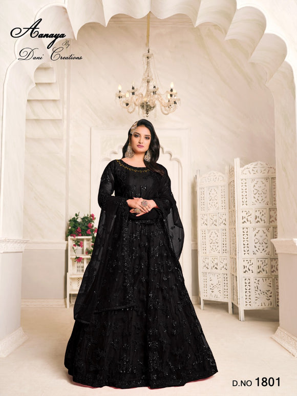 Black Color Net Anarkali Suits with Net with Heavy Tone To Tone Thread & Sequence Work Dupatta