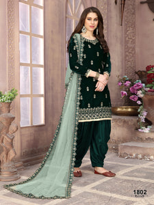 Green Patiala Suit made of Velvet with Net Heavy Work Dupatta - Dani Fashions