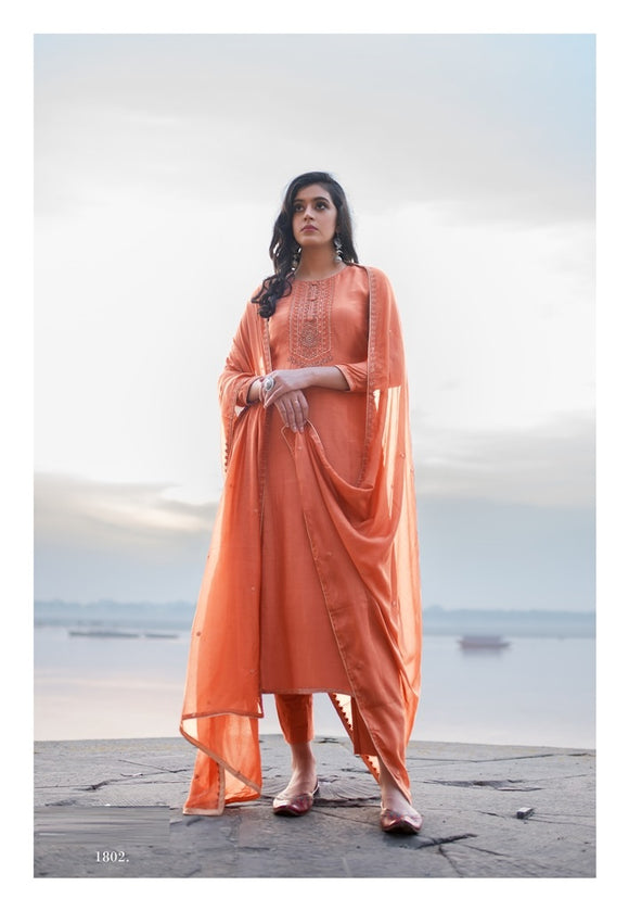 Peach Plazzo Suit  made of Cotton Silk with Modal Dupatta