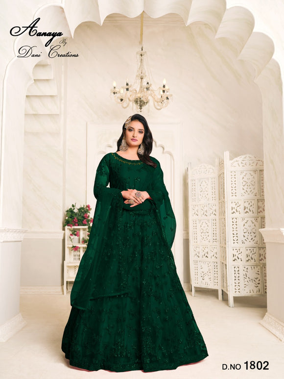 Green Color Net Anarkali Suits with Net with Heavy Tone To Tone Thread & Sequence Work Dupatta