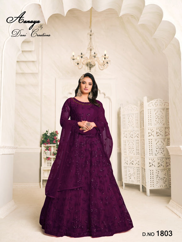 Purple Color Net Anarkali Suits with Net with Heavy Tone To Tone Thread & Sequence Work Dupatta