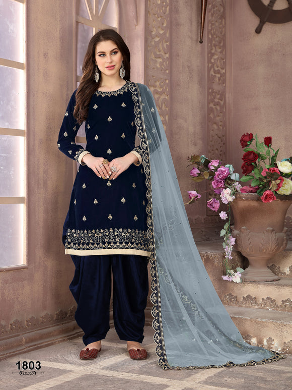 Blue Patiala Suit made of Velvet with Net Heavy Work Dupatta - Dani Fashions