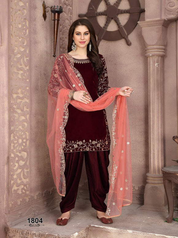 Marron Patiala Suit made of Velvet with Net Heavy Work Dupatta - Dani Fashions