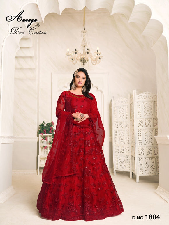 Red Color Net Anarkali Suits with Net with Heavy Tone To Tone Thread & Sequence Work Dupatta
