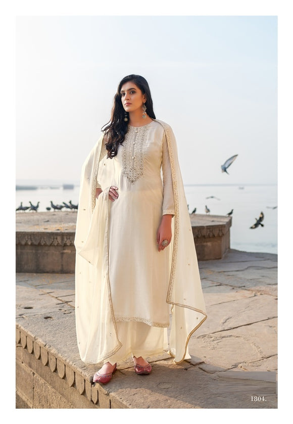 Cream Plazzo Suit  made of Cotton Silk with Modal Dupatta