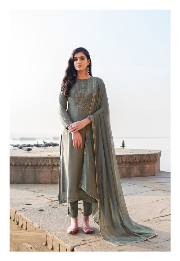 Grey Plazzo Suit  made of Cotton Silk with Modal Dupatta