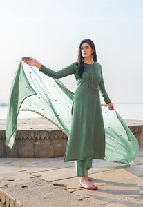 Dusty Green Plazzo Suit  made of Cotton Silk with Modal Dupatta
